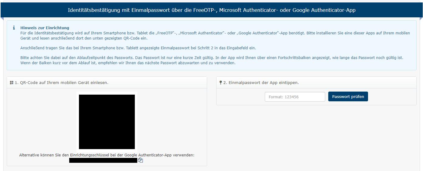 Zwei-Faktor-Authentifizierung QR-Code scannen